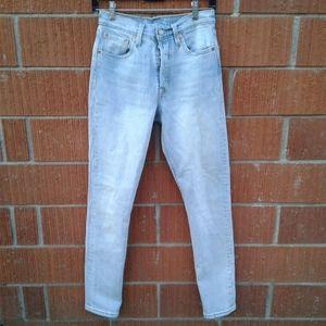Levis 501s skinny high waist blue jean25 x30 501s